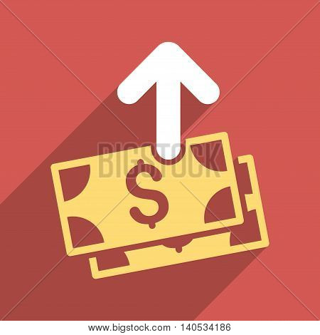 Pay Banknotes long shadow glyph icon. Style is a flat pay banknotes iconic symbol on a red square background.