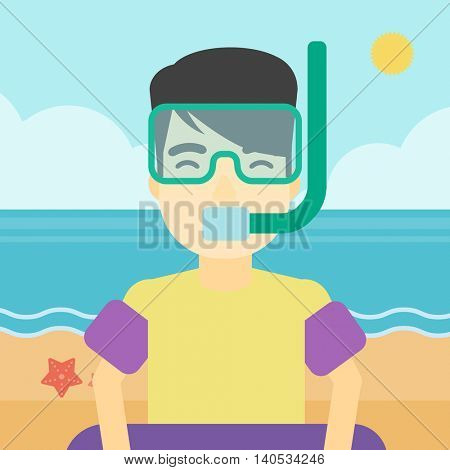 An asian man in mask, tube and rubber ring standing on the background of beach and sea. Man wearing snorkeling equipment on the beach. Vector flat design illustration. Square layout.
