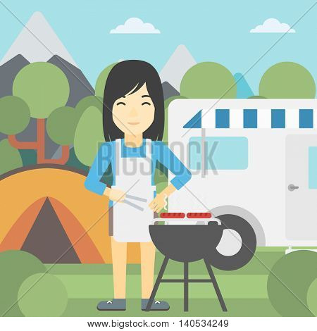 An asian woman cooking meat on barbecue on the background of camper van. Woman travelling by camper van and having barbecue party. Vector flat design illustration. Square layout.