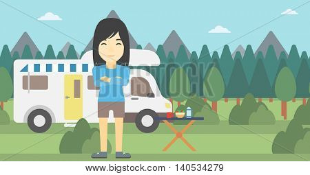 An asian woman standing in front of motor home. Woman with arms crossed enjoying vacation in camper van. Woman travelling by camper van. Vector flat design illustration. Horizontal layout.