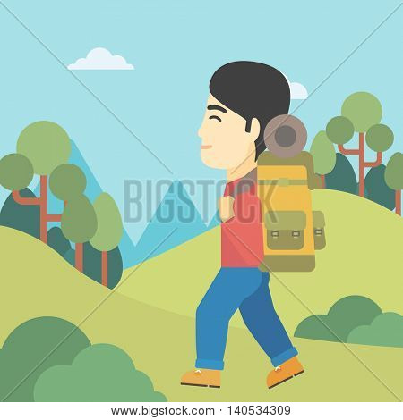 An asian man hiking in mountains. Traveler with backpack mountaineering. Hiking man with backpack walking outdoor. Vector flat design illustration. Square layout.