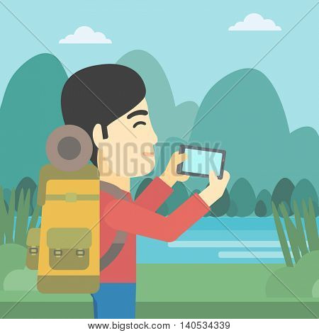 An asian man taking photo of landscape with mountains. Young man with backpack taking photo with his cellphone. Vector flat design illustration. Square layout.