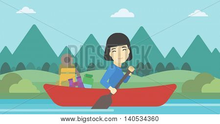 An asian woman riding in a kayak on the river with a skull in hands and some tourist equipment behind her. Woman traveling by kayak. Vector flat design illustration. Horizontal layout.
