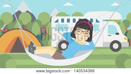 An asian woman lying in hammock in front of motor home in the forest. Woman resting in hammock and enjoying vacation in camper van. Vector flat design illustration. Horizontal layout.