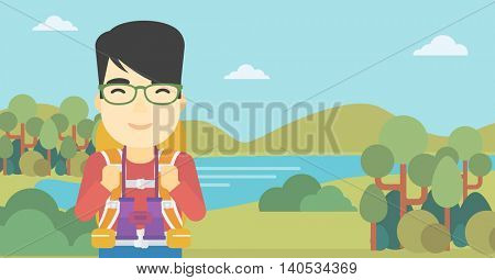 An asian man walking in the mountains. Male traveler with backpack and binoculars. Backpacker hiking in mountains. Vector flat design illustration. Horizontal layout.