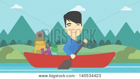 An asian man riding in a kayak on the river with a skull in hands and some tourist equipment behind him. Man traveling by kayak. Vector flat design illustration. Horizontal layout.