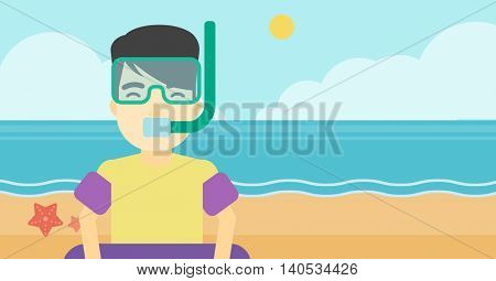 An asian man in mask, tube and rubber ring standing on the background of beach and sea. Man wearing snorkeling equipment on the beach. Vector flat design illustration. Horizontal layout.