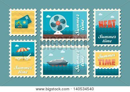 Traveling vector stamp set. Summer time postmark. Vacation eps 10