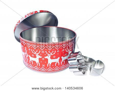 christmas cookie box and cookie cutters, isolated on white