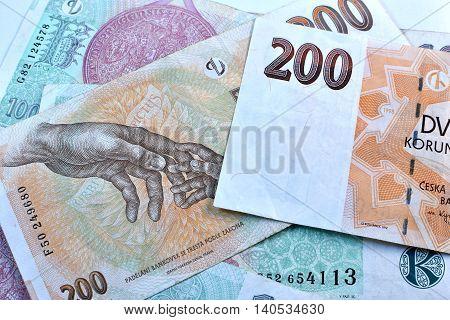 Close up Czech Koruna currency, Czech Republic