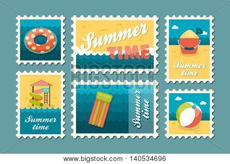 Beach entertainment vector stamp set. Summer time postmark. Vacation eps 10