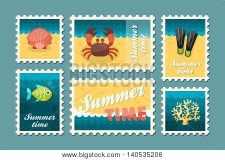 Diving vector stamp set. Summer time postmark. Vacation eps 10