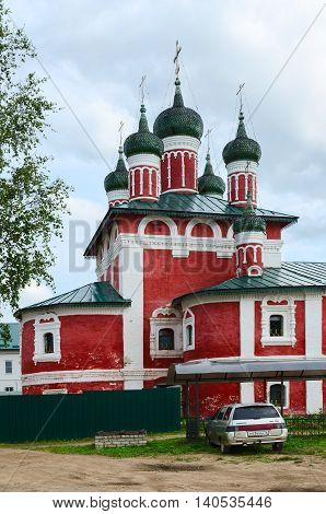 UGLICH RUSSIA - JULY 19 2016: Church of icon of Mother of God of Smolensk Epiphany Monastery Uglich Russia