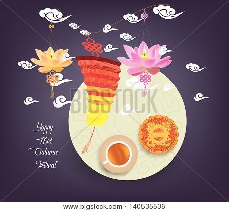 Chinese lotus lantern festival. Mid autumn full moon, cake and tea