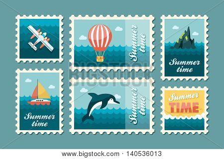 Excursion sea vector stamp set. Summer time postmark. Vacation eps 10