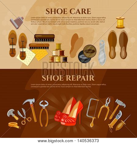Cobbler banner shoe repair shoe care tools shoemaker workplace vector illustration