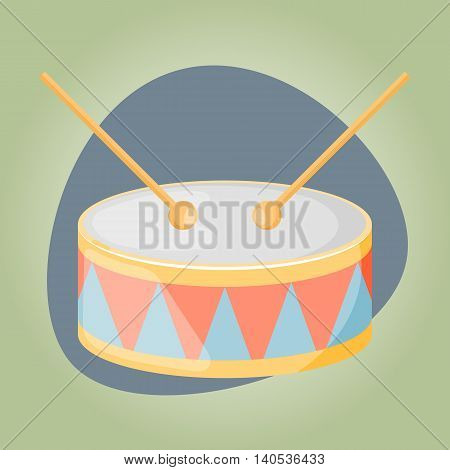 Drum colorful icon. Vector illustration in cartoon style