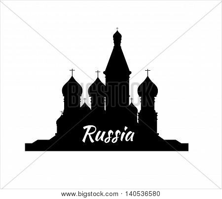 Welcome to Russia. Silhouette St. Basil's Cathedral on Red square - vector stock flat illustration. Landscape design