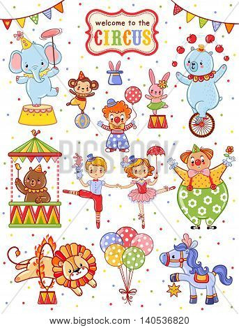 Cute vector set on the theme of the circus.