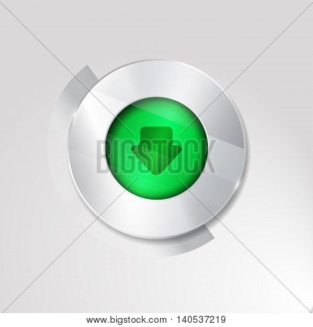 download sign icon.silver white button isolated on white background. glass surfise