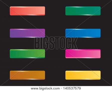 Colorful set of rectangle horizontal shiny banner buttons