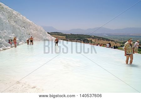 PAMUKKALE TURKEY - June 22.2011: Complex of geothermal sources of Pamukkale on the south-west of Turkey