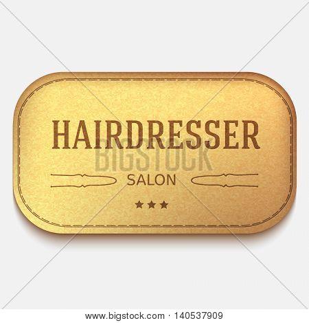 vector banner. Leather textured label for promotion. hairdresser logo or emblem. hairpin