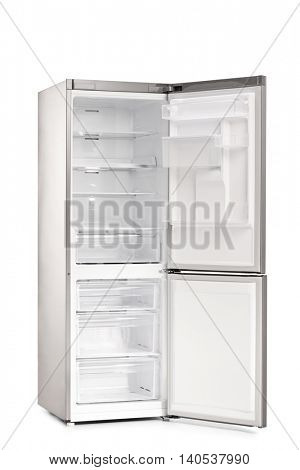 Vertical shot of a new empty and open refrigerator isolated on white background