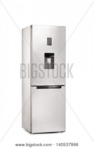 Vertical shot of a closed refrigerator isolated on white background