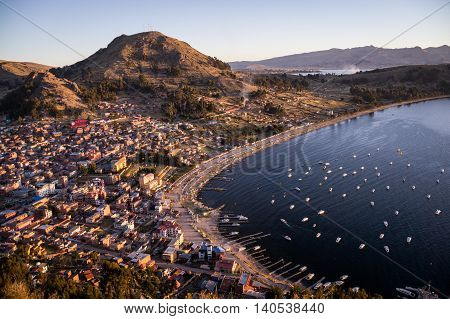 Afternoom view of harbor and city of Copacabana, Bolivia at Lake Titicaca