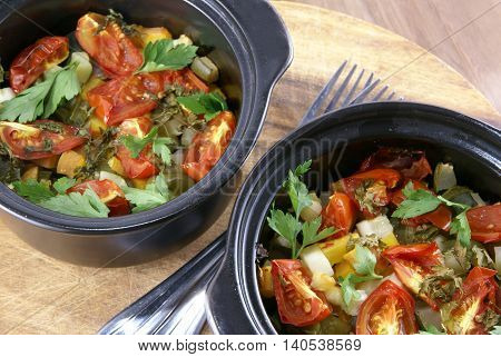 Traditional autumn dish - vegetable stew, baked in the oven