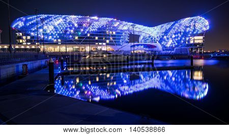 ABU DHABI UNITED ARAB EMIRATES - FEBRUARY 01 2016: The Yas Hotel - the iconic symbol of Abu Dhabi's Grand Prix in Abu Dhabi UAE.