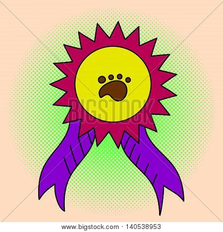 Awareness ribbon pop art vector illustration. Beautiful style comic. Hand-drawn. Medal at the exhibition of animals, vector