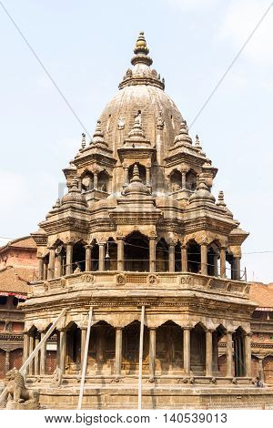 Historic ancient Temple made of stone in Patan Durbar SqureNepal after Gorkha Earthquake.