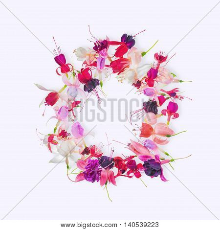 Flat Lay Greeting Wreath Of Colorful Fuchsia Flower With Place For Your Text Or Image, Card For Summ