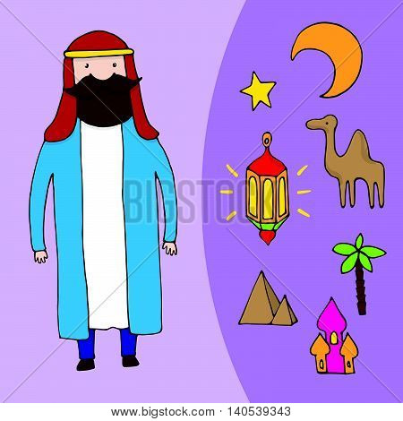 Arabic Man And A Set Of Different Arabic Elements