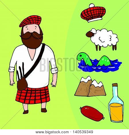 Scottish Man And A Set Of Different Scottish Elements