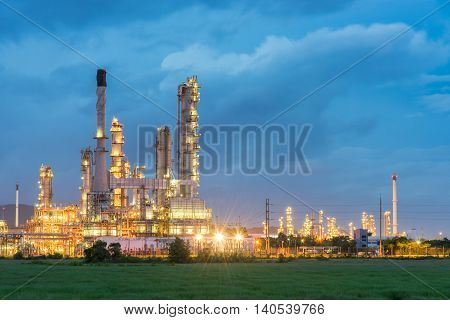 Oil Refinery And Petroleum Industry At Night