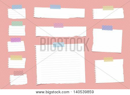 Pieces of ripped white ruled notebook paper are stuck with sticky tape on pink pattern. vector
