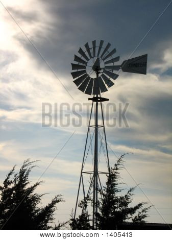 Windmill W/ Dark Storm Clouds