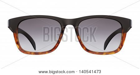 leopard and black sun glasses isolated on white background