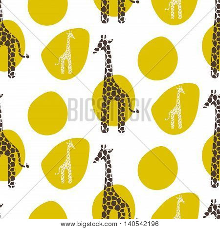 Giraffe vector seamless pattern. Giraffe brown and white texture stains. Safari wild animal background with green spots for baby kid apparel.