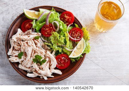 chicken white meat breast with lettuce tomato