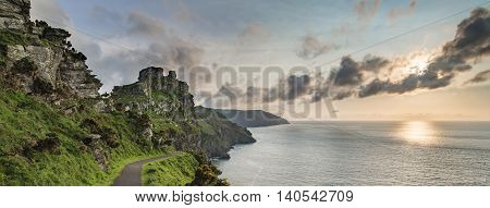Panorama Sunset Landscape Of Valley Of The Rocks In Devon England
