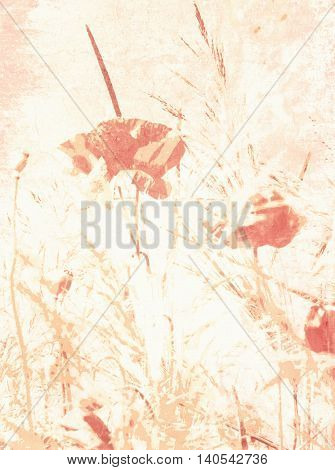 Watercolor flower background - soft floral pastel design in pale faded vintage style