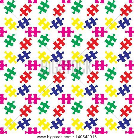 Colorful vector jigsaw puzzle seamless pattern vector