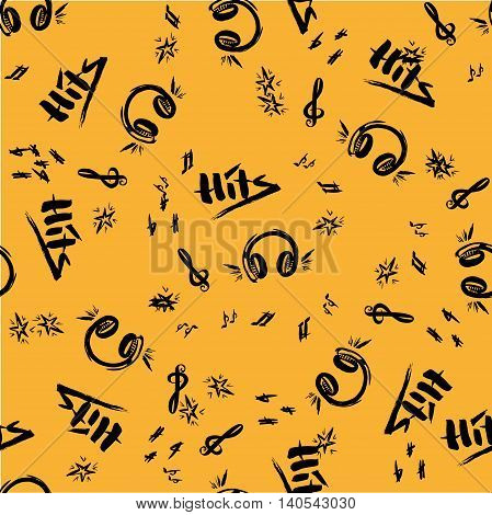 Hand drawn sketch with notes and music styles lettering signs vector illustration