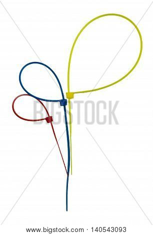 Three colorful plastic cable ties isolated on white background