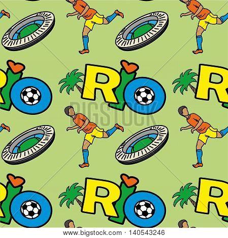 Seamless pattern with Inscription RIO football player stadium. Vector illustration