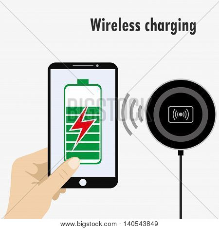 Smartphone on a Wireless Charge, vector illustration on white background